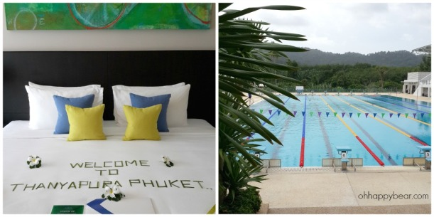 Thanyapura Sports Hotel's guest room and their ozone-treated Olympic standard swimming pool.